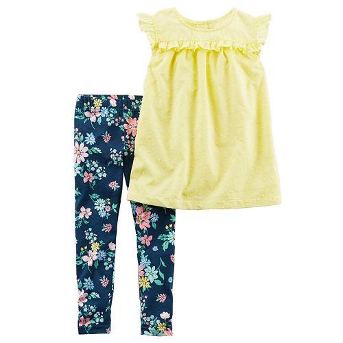 Toddler Girl Carter's Swiss Dot Top & Floral Leggings Set
