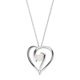 Sterling Silver Lab-Created Opal Heart Pendant
