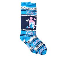 Girls 4-16 Pink Cookie Animal Knee-High Sweater Socks