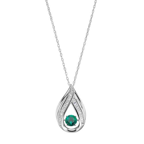 Sterling Silver Simulated Emerald & Lab-Created White Sapphire Teardrop Pendant