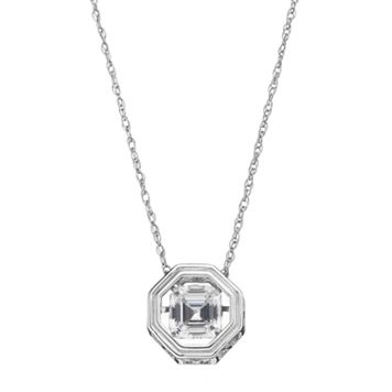 Sterling Silver Lab-Created White Sapphire Octagon Pendant