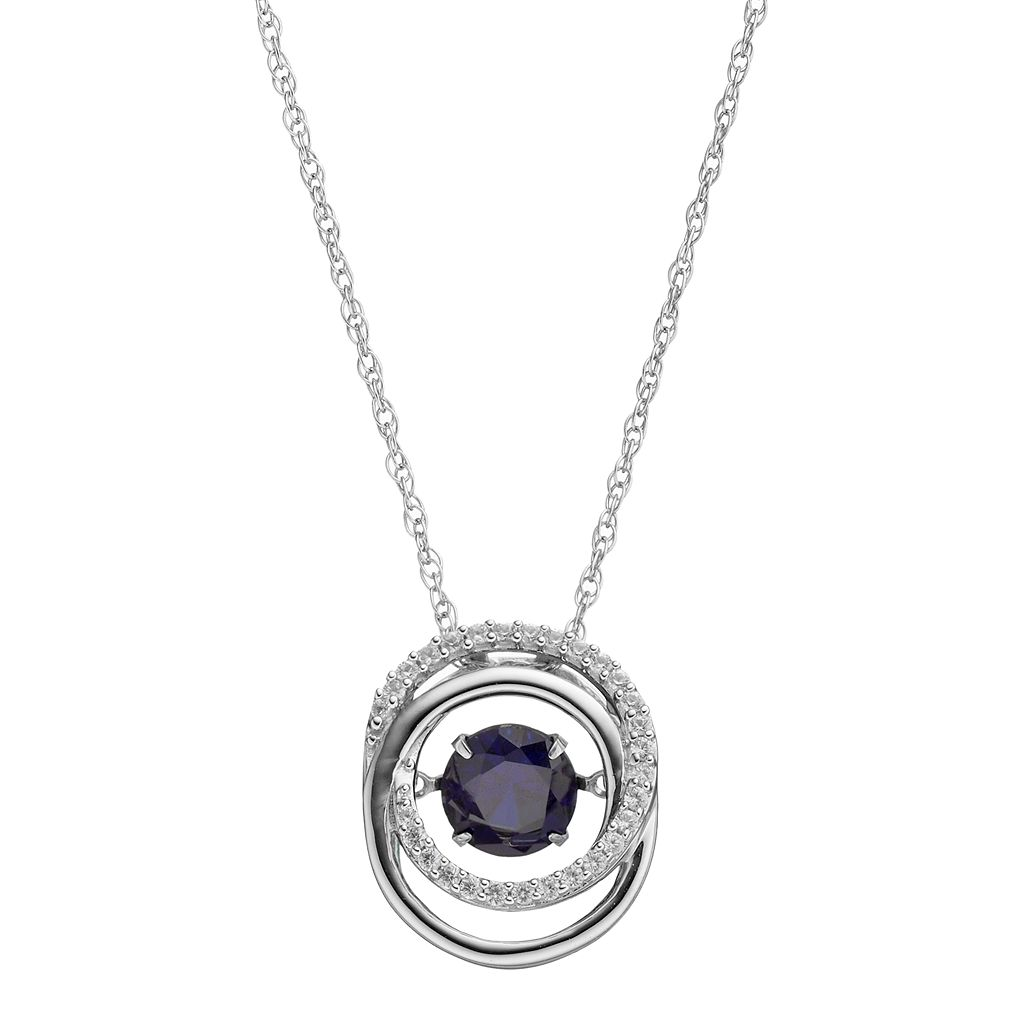 Sterling Silver Lab-Created Blue & White Sapphire Interlocking Circle Pendant