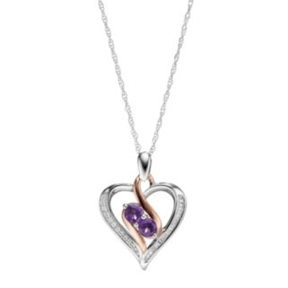 Two Tone Sterling Silver Amethyst & Lab-Created White Sapphire 2-Stone Heart Pendant