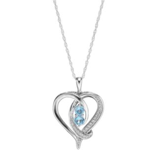 Sterling Silver Blue Topaz & Lab-Created White Sapphire 2-Stone Heart Pendant