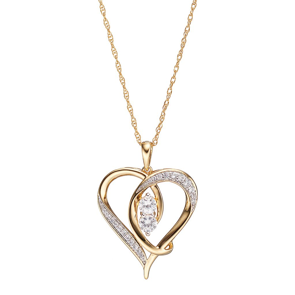 14k Gold Over Silver Lab-Created White Sapphire 2-Stone Heart Pendant