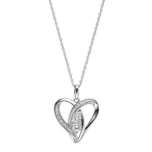 Sterling Silver Silver Lab-Created White Sapphire 2-Stone Heart Pendant