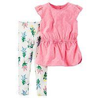 Toddler Girl Carter's Eyelet Flutter Sleeve Top & Floral Leggings Set