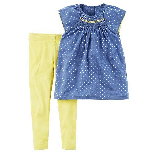 Toddler Girl Carter's Polka-Dot Smocked Top & Leggings Set