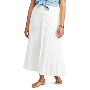 Plus Size Chaps Pleated Maxi Skirt