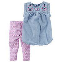 Toddler Girl Carter's Embroidered Chambray Top & Patterned Capri Leggings Set