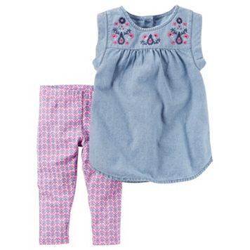 Toddler Girl Carter's Embroidered Chambray Top & Patterned Capri Leggings Set