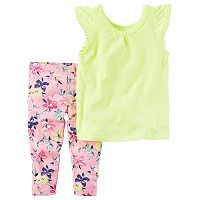 Toddler Girl Carter's Pom-Pom Neon Top & Floral Capri Leggings Set