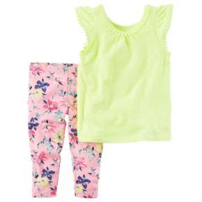 Toddler Girl Carter's Pom-Pom Neon Top & Floral Capri Leggings Set