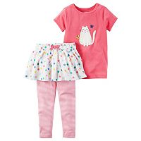Toddler Girl Carter's Cat Tee & Polka-Dot Tutu Leggings Set