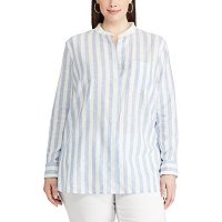 Plus Size Chaps Striped Linen Blend Shirt