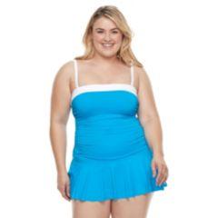 Plus Size Chaps Body Sculptor & Tummy Slimmer Bandeau Swimdress