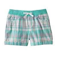 Toddler Girl Jumping Beans® Ribbed Waist Woven Plaid Shorts