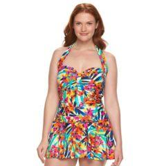 Plus Size Chaps Tummy Slimmer Ruched Swimdress