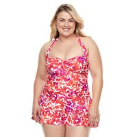Plus Size Chaps Tummy Slimmer Ruched Swimdress