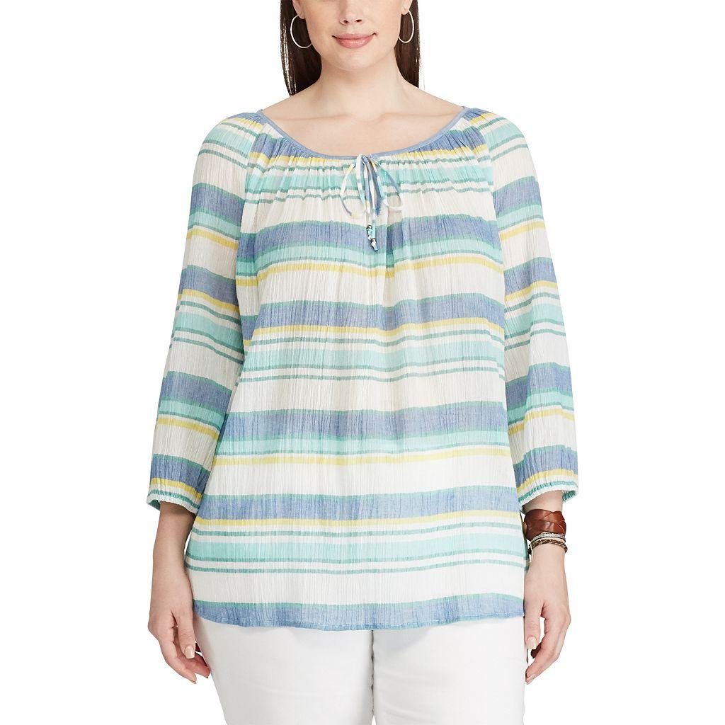 Plus Size Chaps Striped Peasant Top