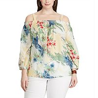 Plus Size Chaps Tropical Off-the-Shoulder Top