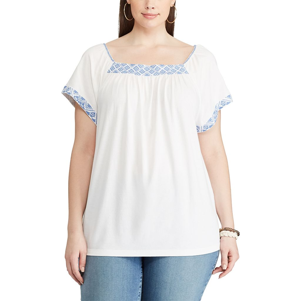 Plus Size Chaps Embroidered Squareneck Top