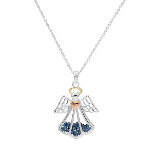 Tri-Tone Sterling Silver Cubic Zirconia Angel Shaker Pendant