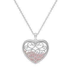Sterling Silver Cubic Zirconia Filigree Heart Shaker Pendant