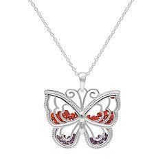 Sterling Silver Cubic Zirconia Butterfly Shaker Pendant