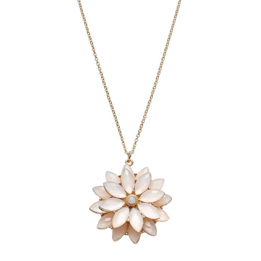 LC Lauren Conrad Long Pink Tiered Flower Pendant Necklace