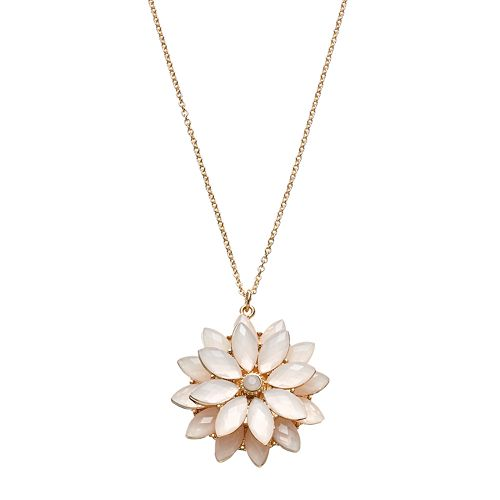 LC Lauren Conrad Long Pink Tiered Flower Pendant Necklace