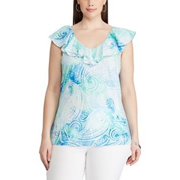 Plus Size Chaps Paisley Ruffled Top