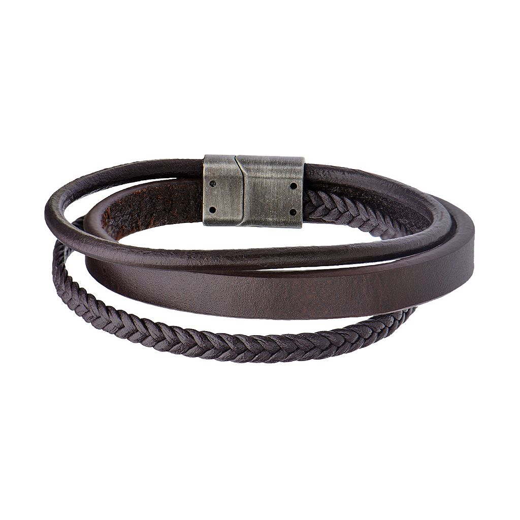 Men's Brown Leather Multistrand Bracelet