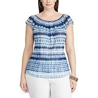 Plus Size Chaps Tie-Dye Off-the-Shoulder Top