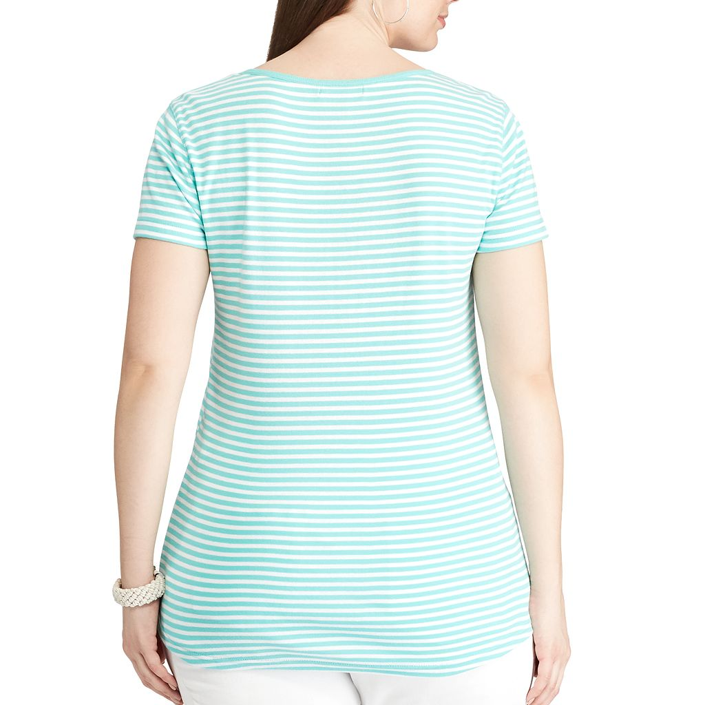 Plus Size Chaps Striped Henley