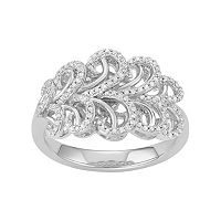 Simply Vera Vera Wang Sterling Silver 1/4 Carat T.W. Diamond Swirl Ring
