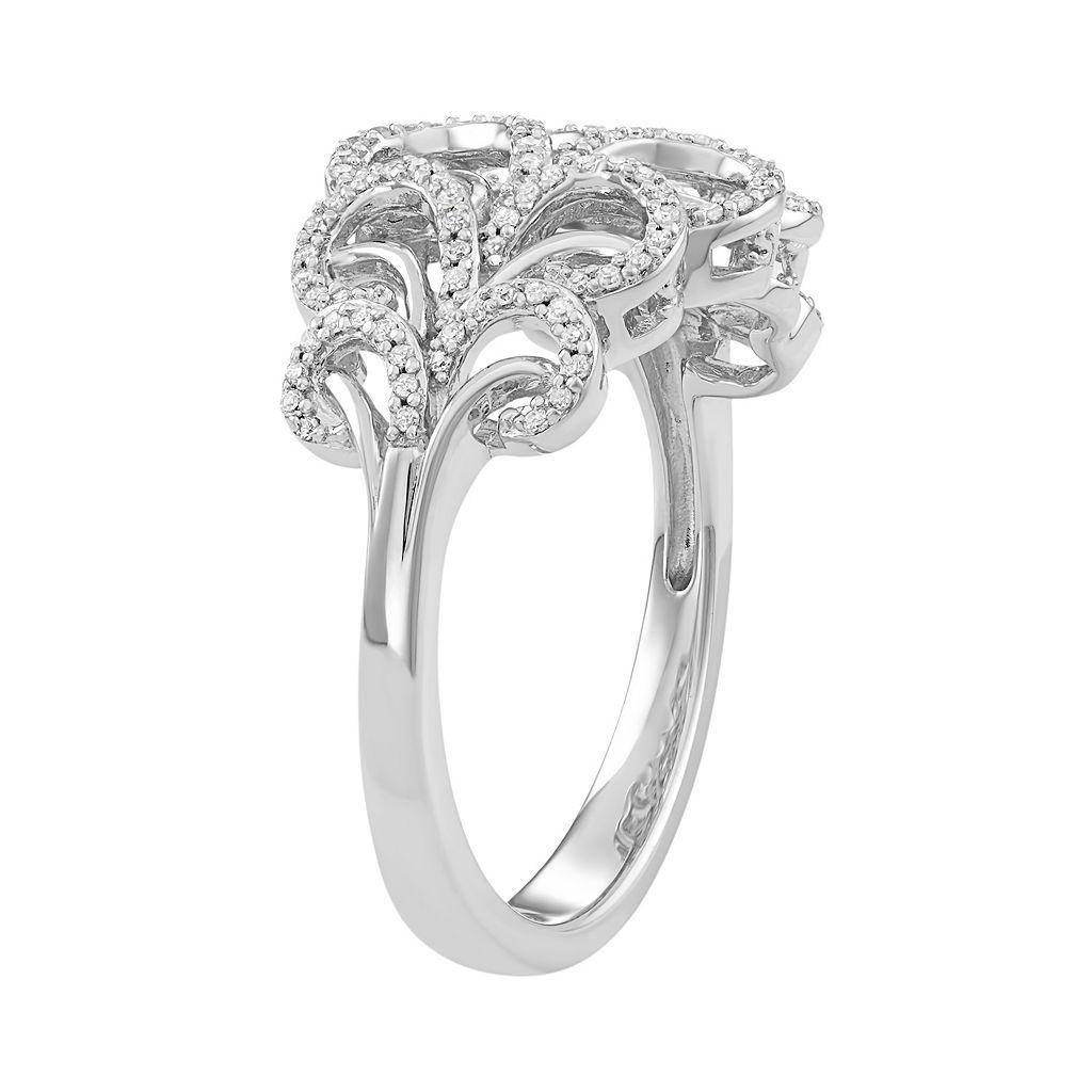 Simply Vera Vera Wang Sterling Silver 1/4 Carat T.W. Diamond Swirl Ring