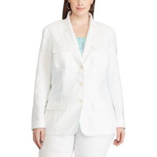 Plus Size Chaps Linen Blend Jacket