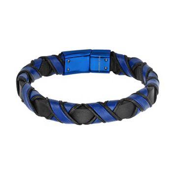 Men's Blue & Black Leather Woven Bracelet
