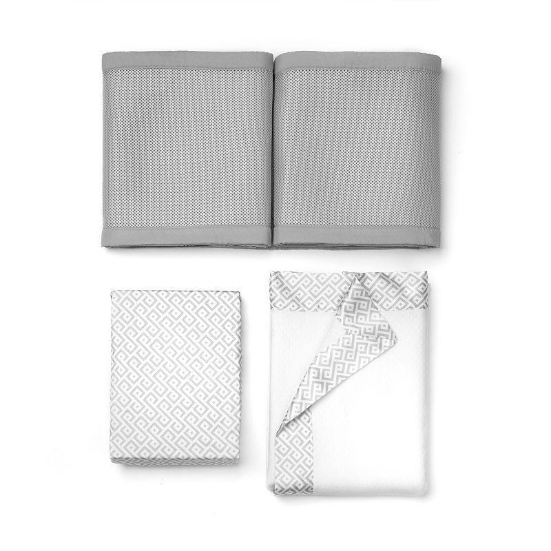 Breathable Baby Quatrefoil & Geometric 3-pc. Crib Bedding Set, Grey