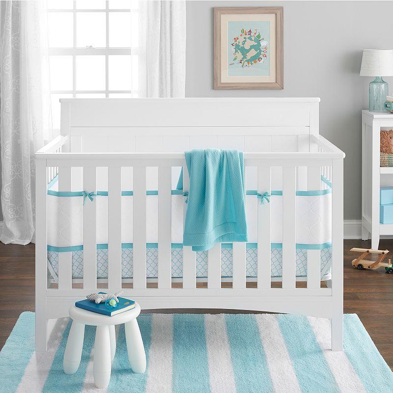 Breathable Baby Embossed Quatrefoil 4-pc. Crib Bedding Set, Lt Green