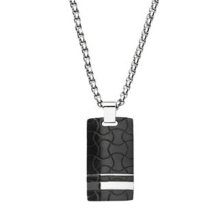 Men's Stainless Steel Swirl Dog Tag Necklace