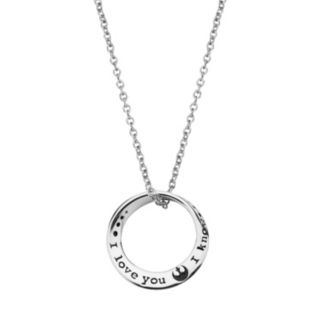 """Star Wars Sterling Silver """"I Love You I Know"""" Mobius Pendant"""