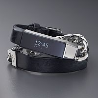 Simply Vera Vera Wang Double Wrap Leather & Metal Bracelet for Fitbit Alta