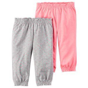 Baby Girl Carter's Polka-Dot & Solid Smocked Pants Set