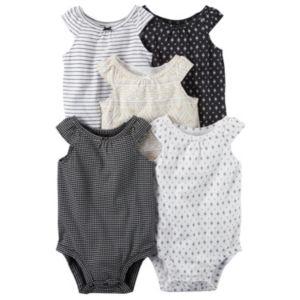 Baby Girl Carter's 5-pk. Print Cap-Sleeve Bodysuits