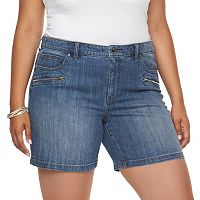 Plus Size Jennifer Zipper Pocket Jean Shorts