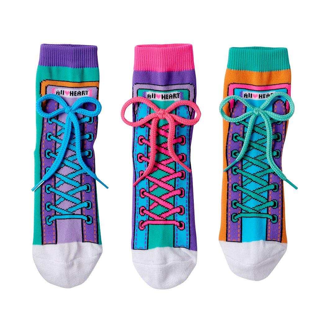 Girls 4-9 Little Miss Matched 3-pk. Colorblock Sneaker Anklet Socks