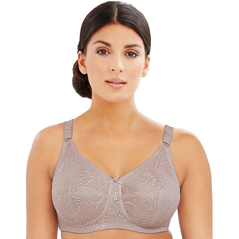Glamorise Bras: Comfort Lace Full-Coverage Full-Figure Bra 1102, Women's, Size: 38 Dd, Med Beige