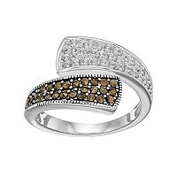 Silver Luxuries Marcasite & Crystal Bypass Ring
